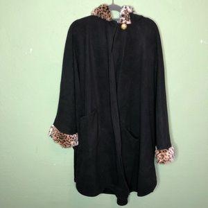 Le Moda Black Fur Trimmed Cape One Size